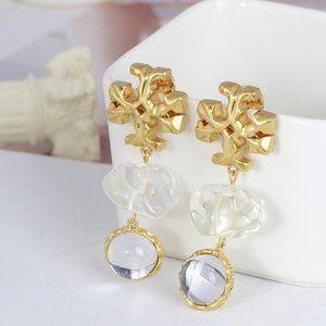 Tory Burch Roxanne Clear Double Drop Post Earrings